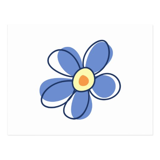 Flowers, Blossoms, Blooms, Petals - Blue Yellow Postcard