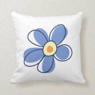 Flowers, Blossoms, Blooms, Petals - Blue Yellow Throw Pillow
