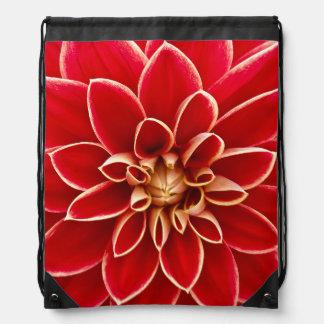 Flowers Blossoms Flowers Red Dahlias Drawstring Bag