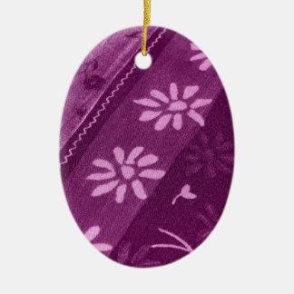 Flowers Blossoms Vines Purple Pink Shower Party Ceramic Ornament