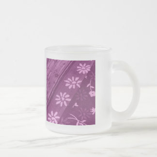 Flowers Blossoms Vines Purple Pink Shower Party Frosted Glass Coffee Mug