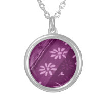 Flowers Blossoms Vines Purple Pink Shower Party Silver Plated Necklace