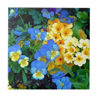 Flowers Blue and Yellow Ceramic Tile