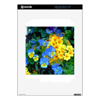 Flowers Blue and Yellow Decal For iPad 2