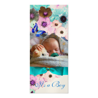 FLOWERS ,BLUE BUTTERFLY BABY SHOWER PHOTO TEMPLATE