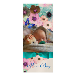 FLOWERS BLUE BUTTERFLY BABY SHOWER PHOTO TEMPLATE PERSONALIZED INVITATIONS