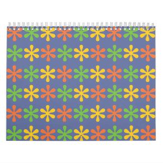 Flowers blue calendar