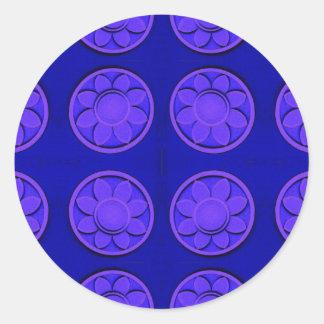 flowers blue classic round sticker