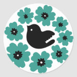 flowers (Blue) Round Sticker