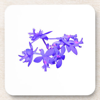 Flowers Blue Tinted Ground Orchid Coaster
