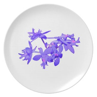 Flowers Blue Tinted Ground Orchid Party Plates