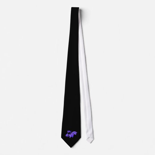 Flowers Blue Tinted Ground Orchid Tie