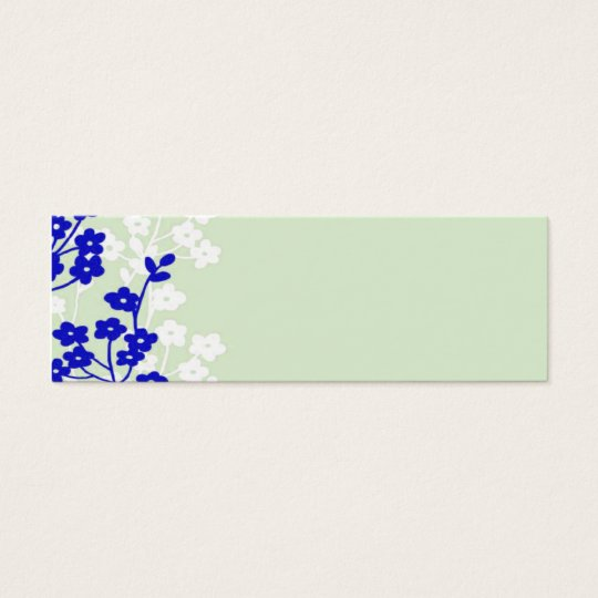 flowers blue white green mini business card