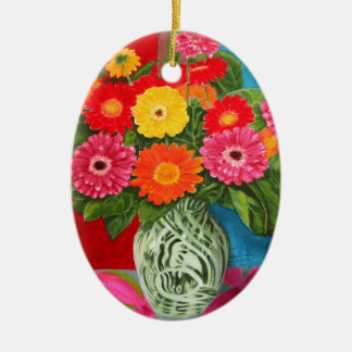 flowers bouquet Double-Sided oval ceramic christmas ornament