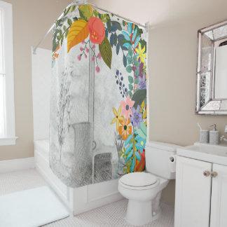 Floral Sketch Shower Curtains | Zazzle