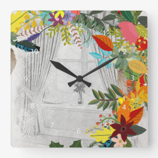 Flowers bouquet square wall clock