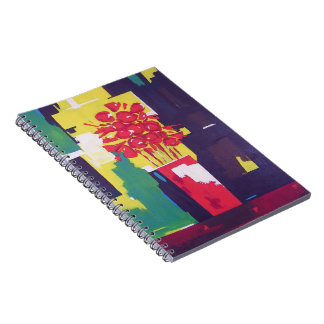Flowers Bouquet Vase Painting Abstract Background Spiral Notebook