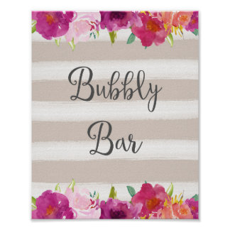 Flowers Bubbly Bar Wedding Poster Print