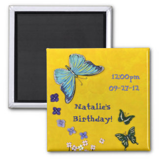 Flowers & Butterflies 2 Inch Square Magnet
