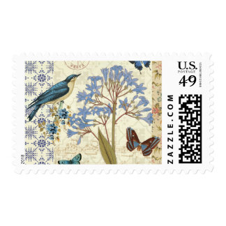 Flowers, Butterflies, and Bird Collage Postage