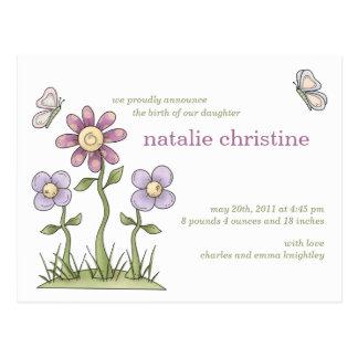 Flowers & Butterflies • Baby Announcement Postcard