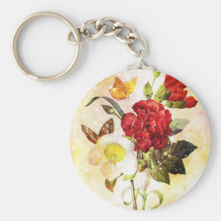 Flowers & Butterflies Basic Round Button Keychain