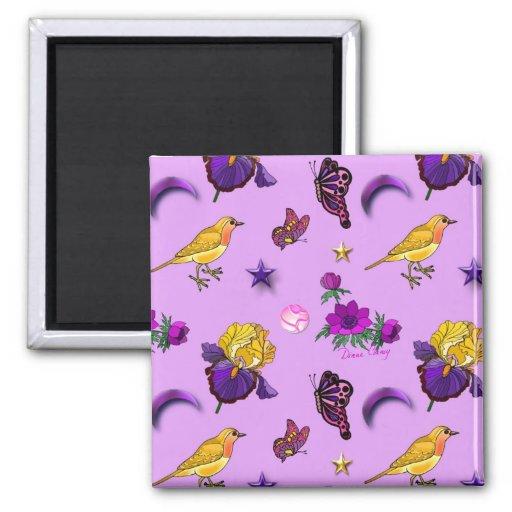 Flowers & Butterflies - Birds & Stars 2 Inch Square Magnet
