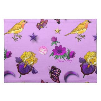 Flowers & Butterflies - Birds & Stars Cloth Place Mat