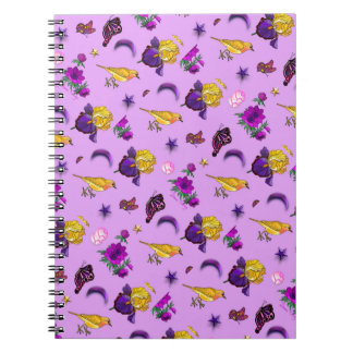 Flowers & Butterflies - Birds & Stars Spiral Notebook