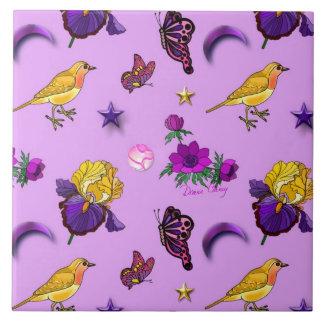 Flowers & Butterflies - Birds & Stars Tile