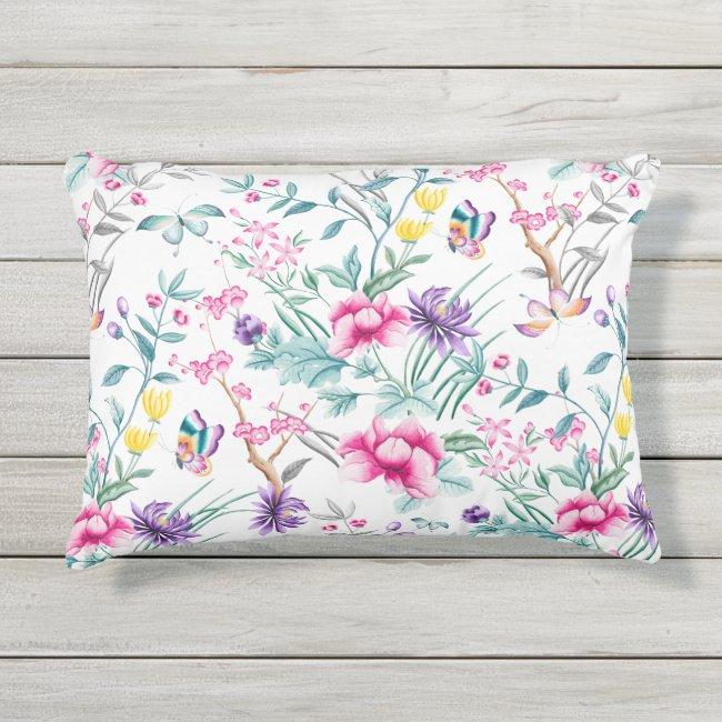 Flowers & Butterflies Chinoiserie Outdoor Pillow