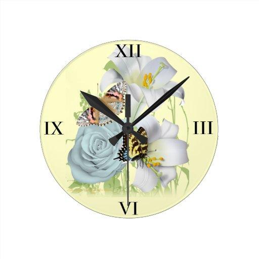 Flowers & Butterflies clock