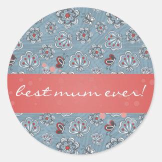 flowers & butterflies for best mum ever classic round sticker