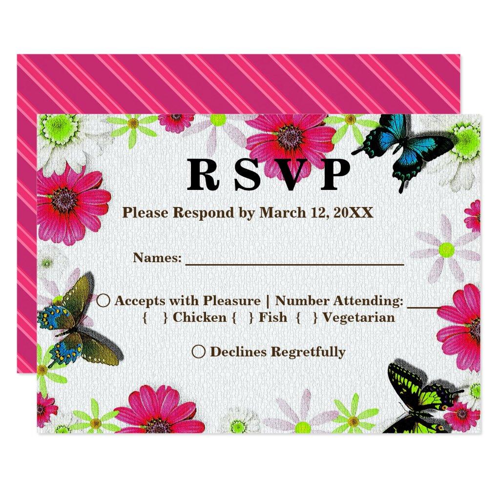 Flowers & Butterflies in Mosaic RSVP Menu Invitation