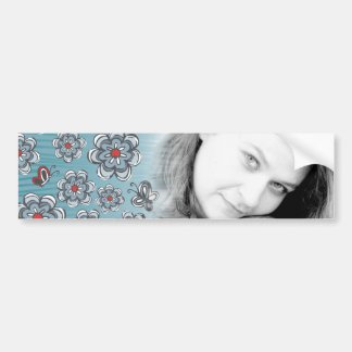 flowers & butterflies lovely blue and red pattern bumper sticker