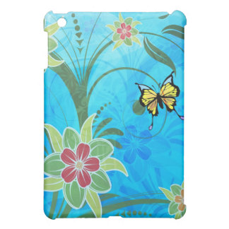 Flowers & Butterflies On Blue Background iPad Mini Cover