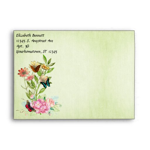 Flowers Butterflies on Green Fabric Texture Envelope