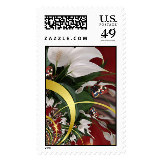 Flowers & Butterflies Postage Stamps