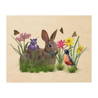 Flowers, Butterflies, Robin, and Bunny Rabbit Wood Wall Art