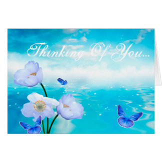 Flowers & Butterflies Thinking Of You, Custom Card
