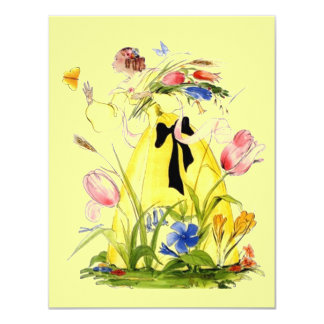 FLOWERS BUTTERFLY & LOVELY LADY INVITATION NOTE
