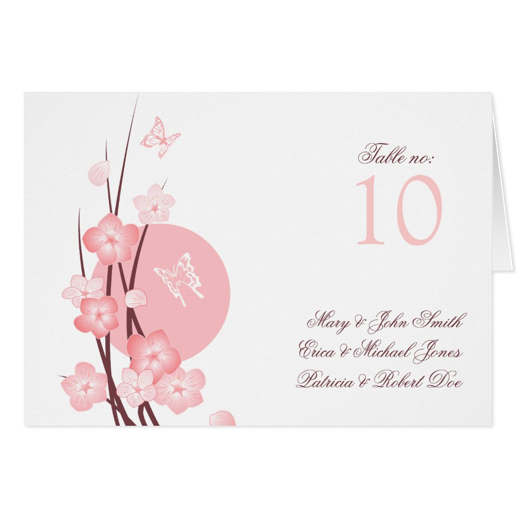 Flowers Butterfly Wedding Party Table Place Card