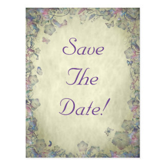 Flowers & Butterfly's Wedding Save The Date Postcard