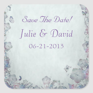 Flowers & Butterfly's Wedding Save The Date Square Sticker