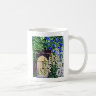 Flowers by a sunlit gateway 2008 coffee mug
