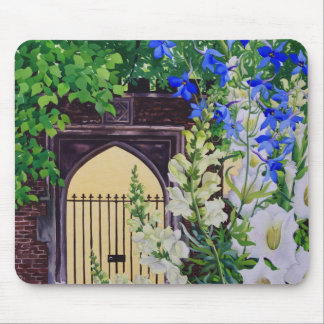 Flowers by a sunlit gateway 2008 mouse pad