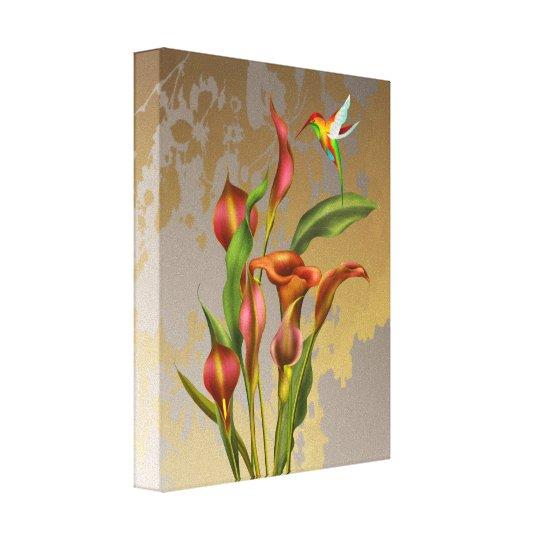 Flowers - Calla Lilies and Hummingbird Canvas Print
