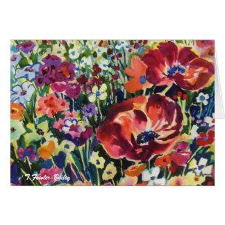 Flowers Can Dance  Original Watercolor Greeting . Card