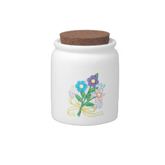 FLOWERS CANDY JARS
