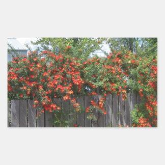 Flowers Climbing Fence Rectangular Sticker